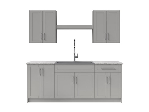 NewAge Laundry Room 10 Piece Cabinet Set with Centered Shelf and Sink - Gray
