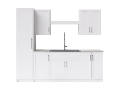 NewAge Laundry Room 11 Piece Cabinet with Shelf, Sink and Faucet - White