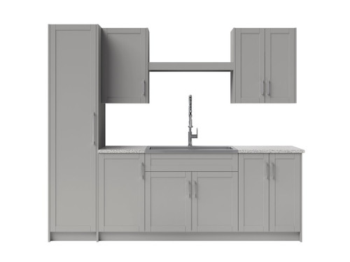 NewAge Laundry Room 11 Piece Cabinet with Shelf, Sink and Faucet - Gray