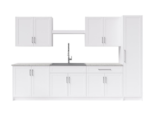 NewAge Laundry Room 11 Piece Cabinet Set with Centered Shelf, Sink and Faucet - White