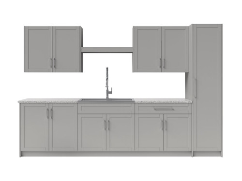 NewAge Laundry Room 11 Piece Cabinet Set with Centered Shelf, Sink and Faucet - Gray
