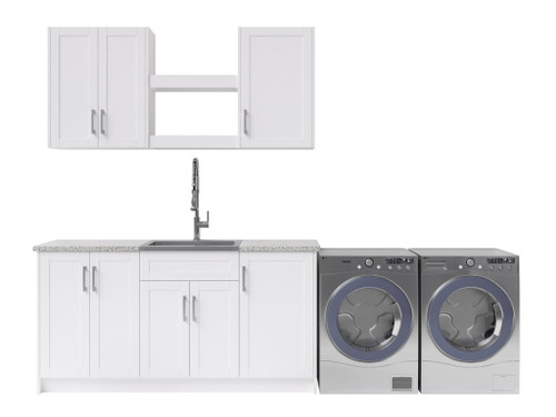 NewAge Laundry Room 11 Piece Cabinet Set with Shelves and Granite Countertops - White