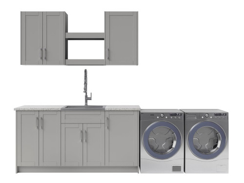 NewAge Laundry Room 11 Piece Cabinet Set with Shelves and Granite Countertops - Gray