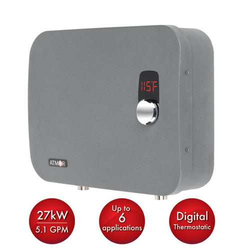 Atmor ThermoPro 27kW/240-Volt 5.1 GPM Stainless Steel Digital Electric Tankless Water Heater with Self-Modulating Technology