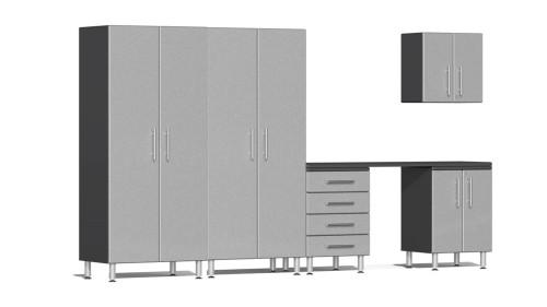 Ulti-MATE Garage 2.0 Series Silver Metallic 6 Piece Kit with Workstation