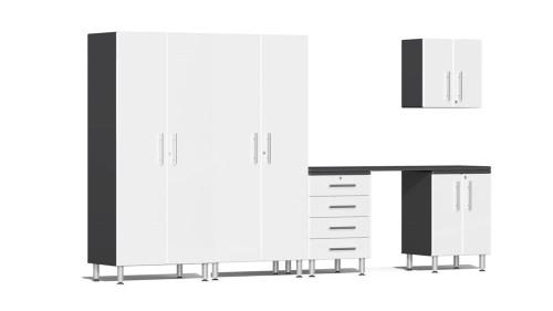 Ulti-MATE Garage 2.0 Series White Metallic 6 Piece Kit with Workstation