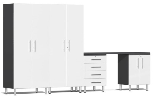 Ulti-MATE Garage 2.0 Series White Metallic 5 Piece Kit