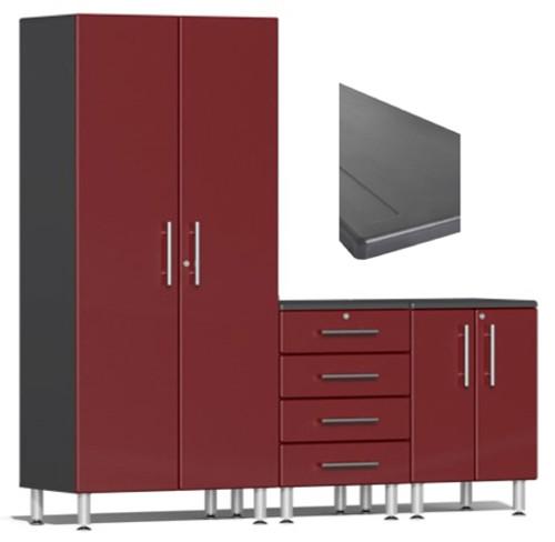 Ulti-MATE Garage 2.0 Series Red Metallic 4-Piece Set with Worktop