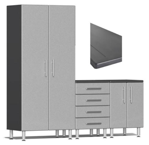 Ulti-MATE Garage 2.0 Series Silver Metallic 4-Piece Set with Worktop