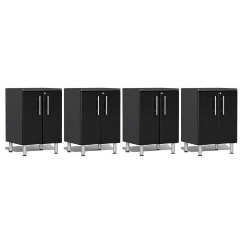 Ulti-MATE Garage 2.0 Series Black Metallic 4-Piece 2-Door Base Cabinet Set