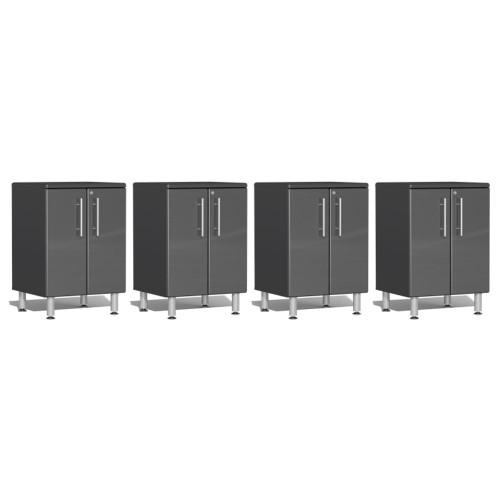 Ulti-MATE Garage 2.0 Series Grey Metallic 4-Piece 2-Door Base Cabinet Set