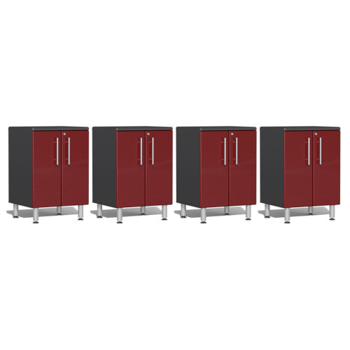 Ulti-MATE Garage 2.0 Series Red Metallic 4-Piece 2-Door Base Cabinet Set