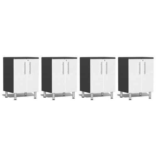 Ulti-MATE Garage 2.0 Series White Metallic 4-Piece 2-Door Base Cabinet Set