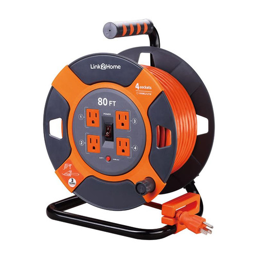 Link2Home Power Reel Outdoor 80ft Cable 14AWG SJTW with ON/OFF Switch + Thermal Cut Reset Button + Cable Management + Lock Sytem + Cable Clip