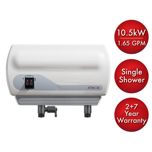 Atmor 10.5kW/240-Volt 1.65 GPM Electric Tankless Water Heater with Pressure Relief Device, On demand Water Heater