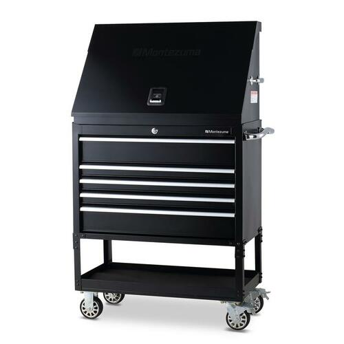 "Montezuma 36"" X 17"" Steel Triangle Toolbox and 36"" 5-Drawer Utility Cart Combo"