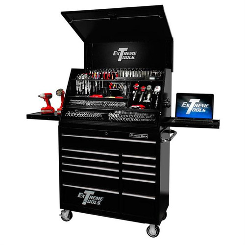"Extreme Tools 41"" Deluxe Portable Workstation & Roller Cabinet Set - Black"