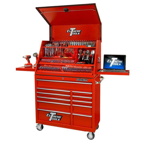 "Extreme Tools 41"" Deluxe Portable Workstation & Roller Cabinet Set - Red"