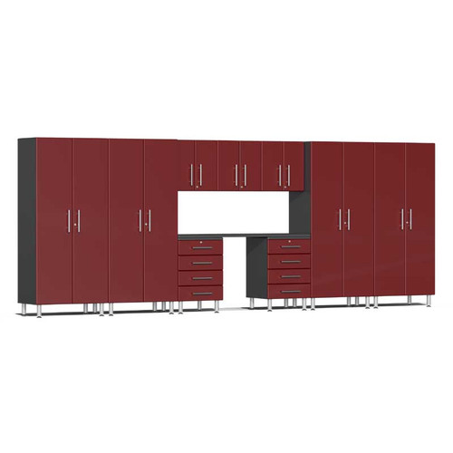 Ulti-MATE Garage 2.0 Series Red Metallic 10-Piece Kit with Recessed Worktop