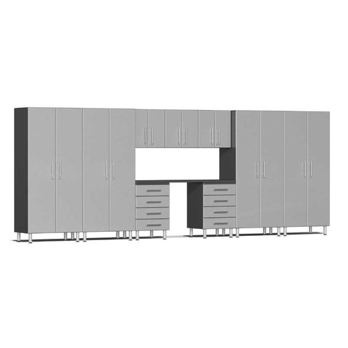 Ulti-MATE Garage 2.0 Series Silver Metallic 10-Piece Kit with Recessed Worktop