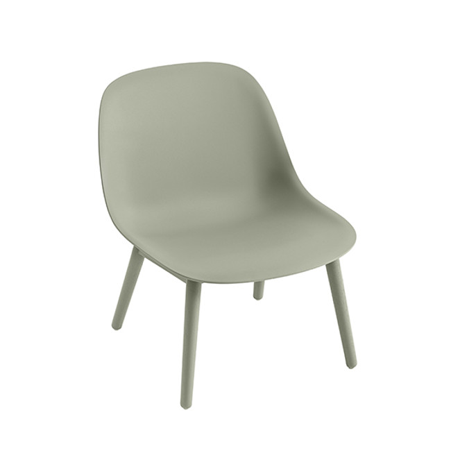 Muuto Fiber Lounge Chair Woodbase in dusty green