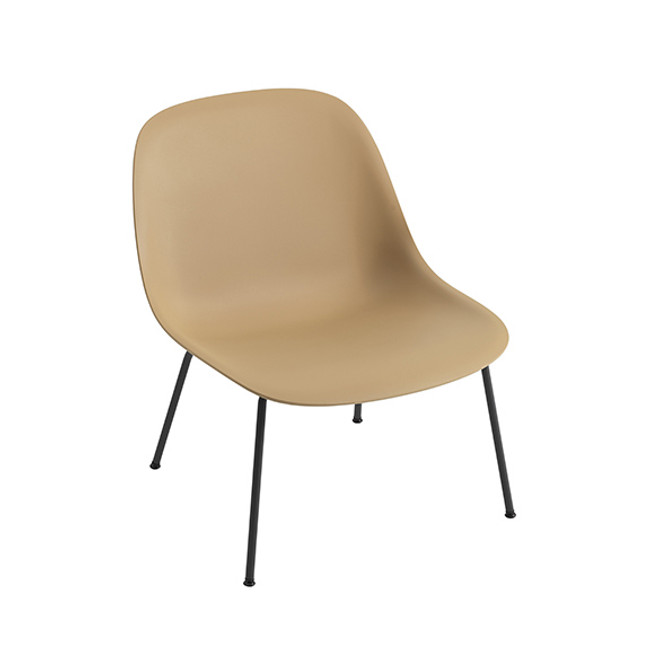 Muuto Fiber Lounge Chair Tube Base in Ochre/black