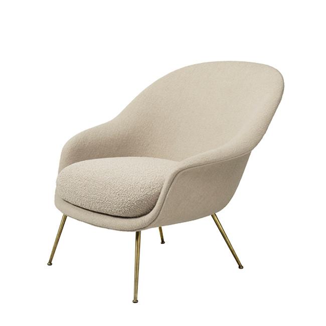 Gubi Bat Lounge Conic Chair Low in Harp 020/antique brass legs