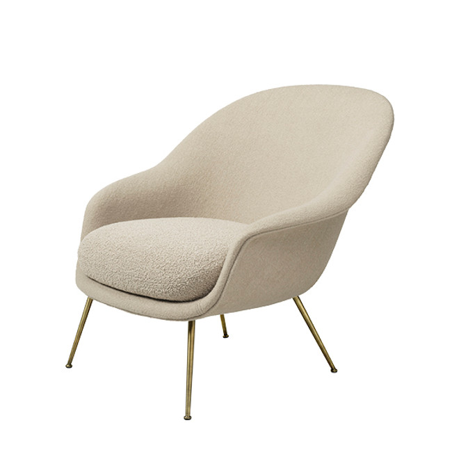 Gubi Bat Lounge Conic Chair Low in Harp 020/antique brass legs