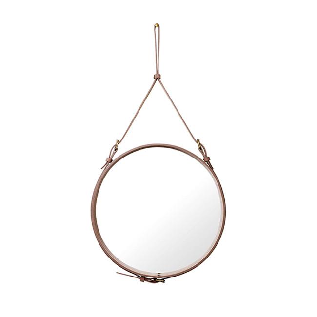 Gubi Adnet Circulaire Mirror M Alcantara in Dusty Cedar