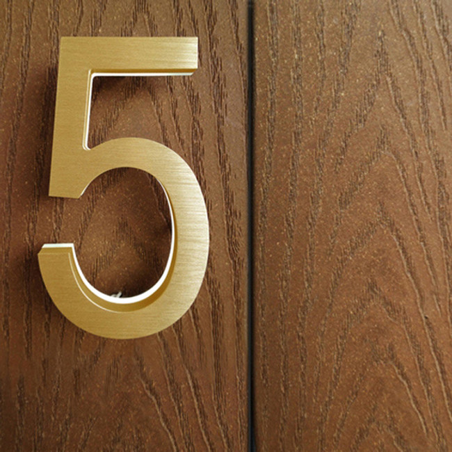 Luxello | Modern Brass Led House Numbers 5""