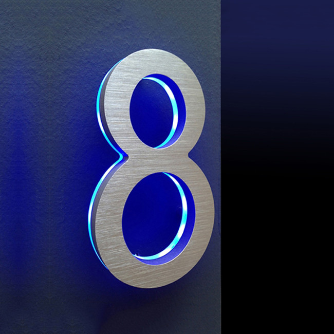 "Luxello | Modern LED House Number 5"" with Blue LED"