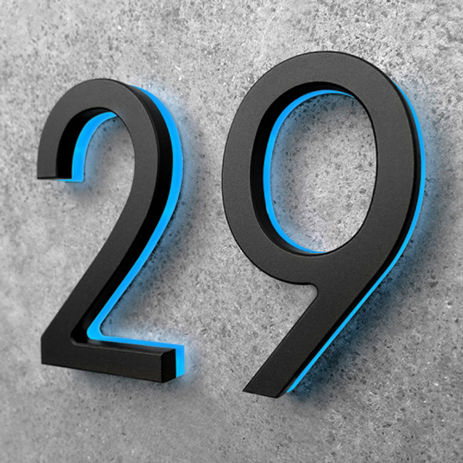 Luxello | Modern Black House Number With Blue LED 5""