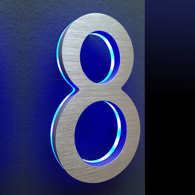 "Luxello  |  Modern LED House Number 8"" with Blue LED"
