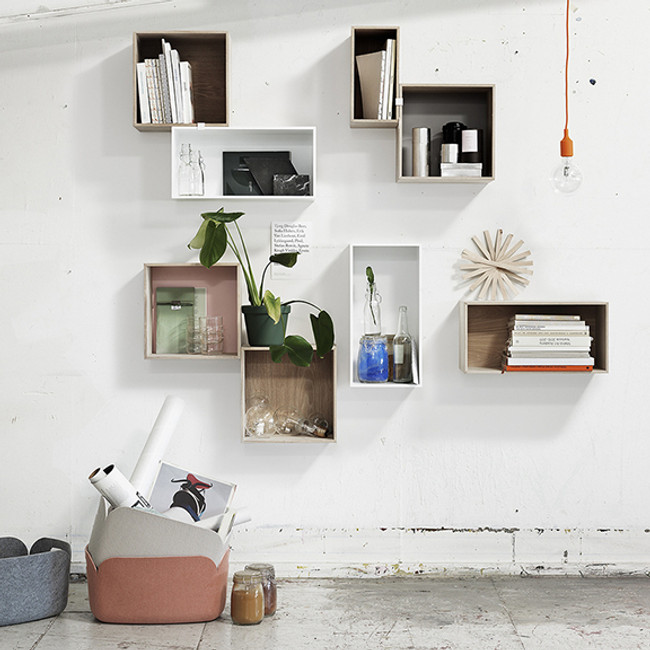 Mini Stacked shelves shown with Muuto Restore Baskets