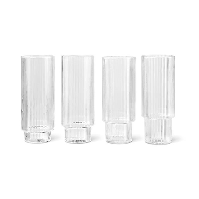 Ferm Living  |  Ripple Long Drink Glasses Clear