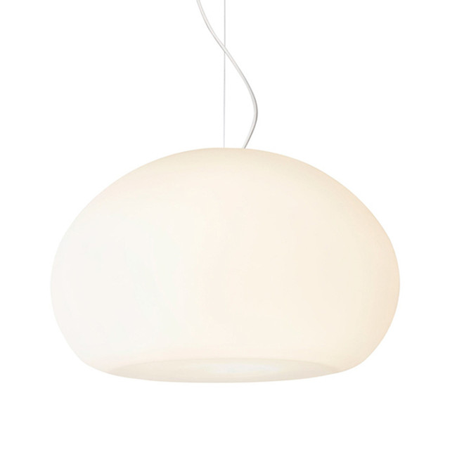 The subtle irregularity of Fluid Pendant means that the silhouette changes with the viewing angle