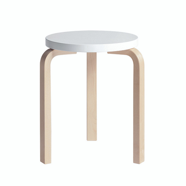 Artek Stool 60 in White seat / natural legs