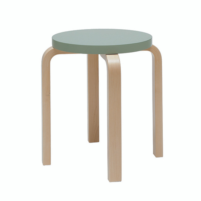 Artek E60 Stool in green lacquered seat / natural legs