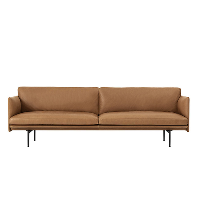 Muuto Outline Sofa in Cognac silk leather