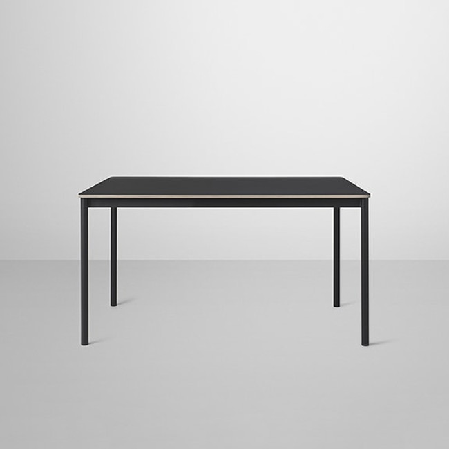 Muuto Base Table Small in Black/Black linoleum tabletop / Plywood edges