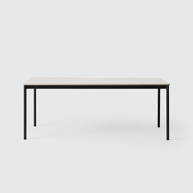 Muuto Base Table Medium in Black / White laminate tabletop / Plywood edges