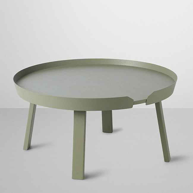 Around coffee table in dusty green