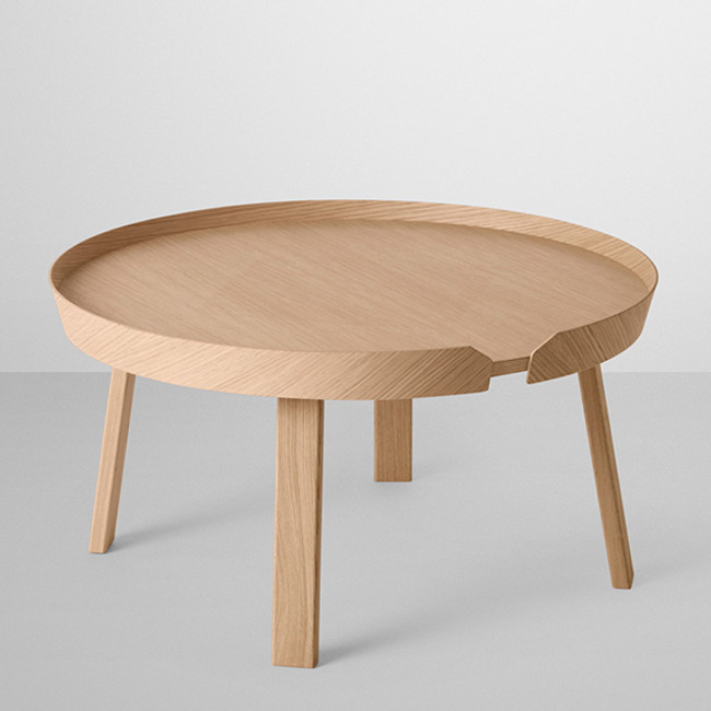 Around coffee table in oak