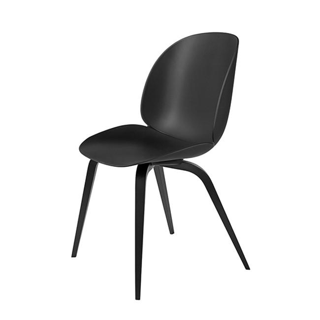 Gubi Beetle Chair Woodbase in black seat/ blackstained beech base