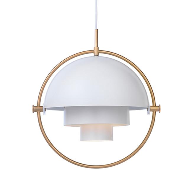 Gubi Multi Lite Pendant in white/brass