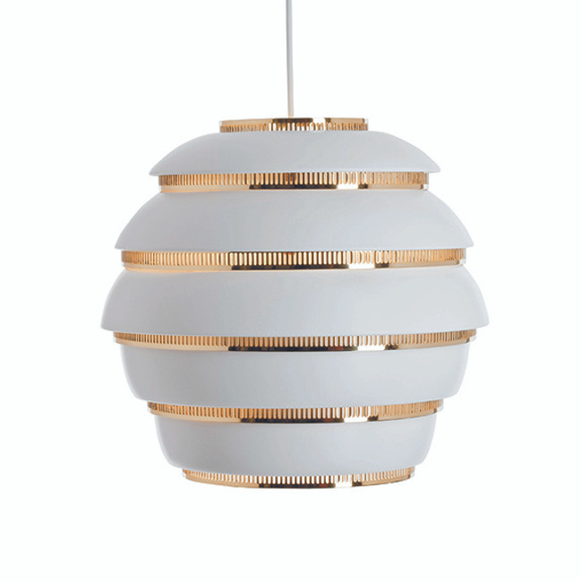 Artek A331 Beehive Pendant in white with brass rings