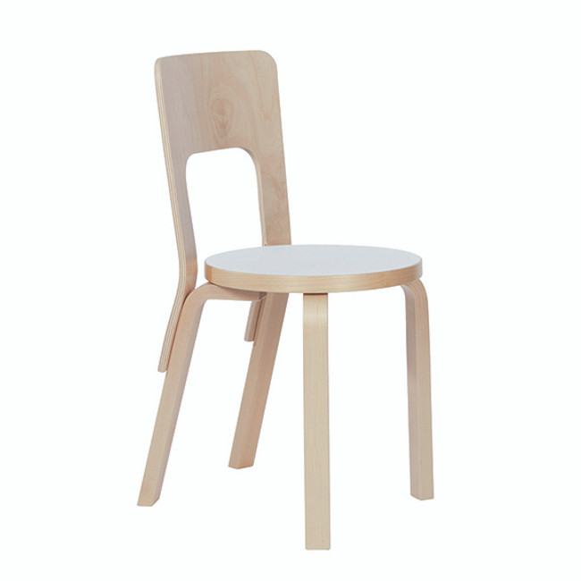 Artek Chair 66 in white laminate seat / natural legs