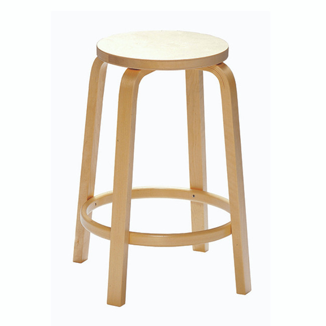 Artek 64 Bar Stool in birch veneer seat / natural legs