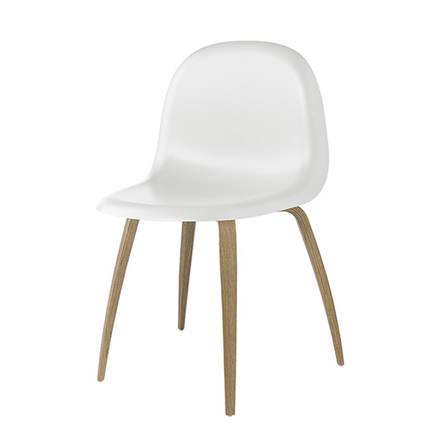 Gubi 5 Chair in White Seat with Oak Base