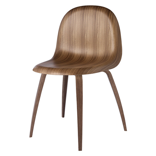 Gubi 5 Chair in Walnut Seat with Walnut Base